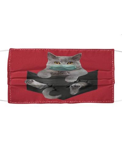 Cat face mask in pocket