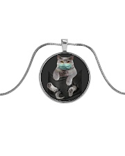 Cat face mask in pocket Metallic Circle Necklace front