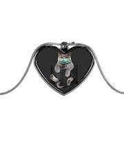 Cat face mask in pocket Metallic Heart Necklace thumbnail