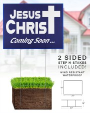 Jesus is coming soon yard sign 24x18 Yard Sign aos-yard-sign-24x18-lifestyle-front-28