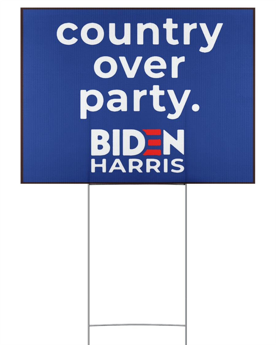 Biden Harris country over party 24x18 Yard Sign