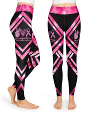 Peace Love Cure Breast Cancer Awareness High Waist Leggings front