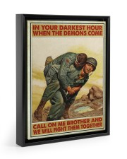 In Your Darkest Hour When The Demons Come  Floating Framed Canvas Prints Black tile