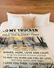"""To My Trucker When You Need Hug Hold This Blanket Large Fleece Blanket - 60"""" x 80"""" aos-coral-fleece-blanket-60x80-lifestyle-front-02"""