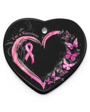 I'm A Survivor Breast Cancer Awareness Heart Ornament (Porcelain) tile