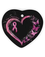 I'm A Survivor Breast Cancer Awareness Heart Ornament (Wood) tile
