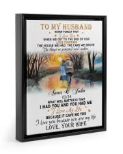 To My Husband Never Forget That I Love You Floating Framed Canvas Prints Black tile