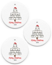 Toilet Paper Tree  Christmas Ornament  Circle ornament - 3 pieces (porcelain) front
