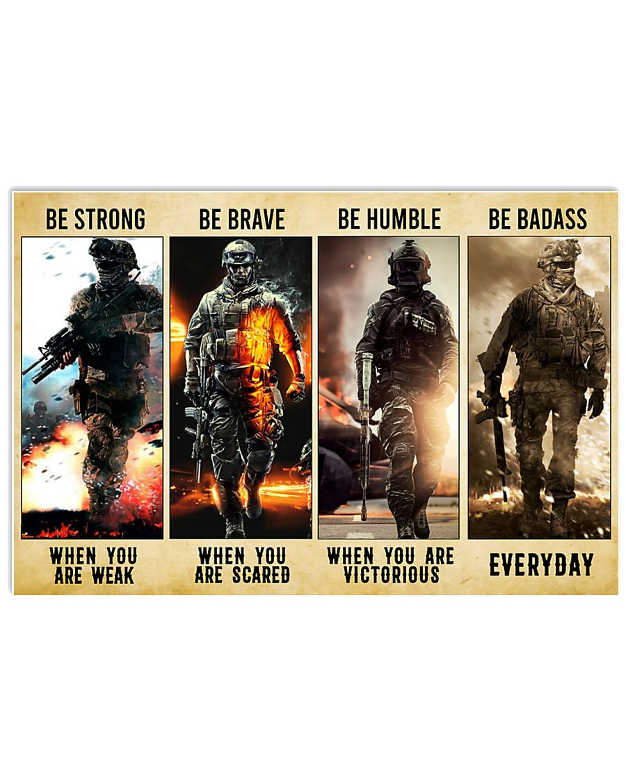 Be Strong Be Brave Be Humble Marine Veteran 36x24 Poster