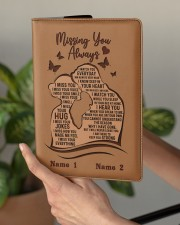 Missing You Always I Am There to Keep You Strong Medium - Leather Notebook aos-medium-leather-notebook-lifestyle-front-03