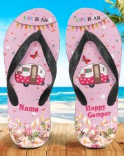 Life Is An Adventure Happy Camper Women's Flip Flops aos-women-flip-flops-lifestyle-front-01