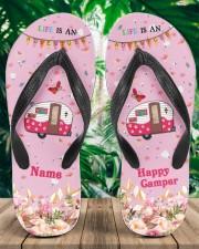 Life Is An Adventure Happy Camper Women's Flip Flops aos-women-flip-flops-lifestyle-front-01a