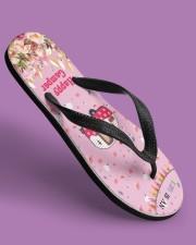 Life Is An Adventure Happy Camper Women's Flip Flops aos-women-flip-flops-lifestyle-front-06
