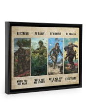 Veteran Be Strong Be Brave Be Humble Be Badass Floating Framed Canvas Prints Black tile