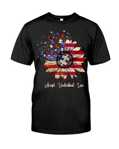 Sunflower Autism USA Flag