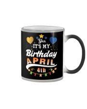 April 4th Birthday Gift T-Shirts Color Changing Mug tile
