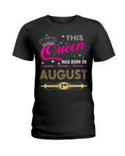 This Queen Was Born On 2ND Ladies T-Shirt front