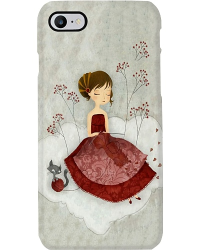 Red Knitting Lady Phone Case D19T9