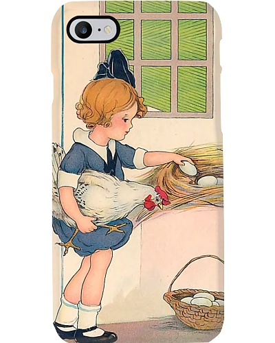 Vintage Little Girl with Hen Phone Case HU29