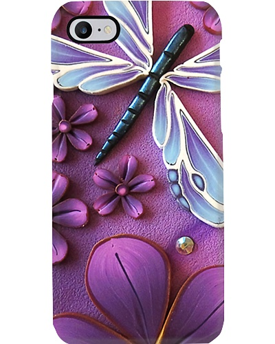 Blue Dragonfly With Flower Phone Case LA99