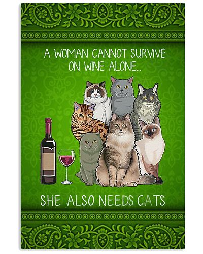 Cat Wine Vertical Poster YLH1