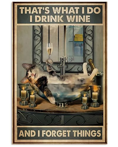 Cat With Wine Vertical Poster YPA9