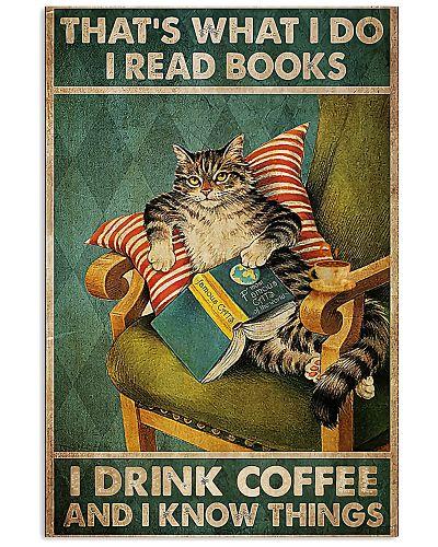 Cat Read Book n Drink Coffee Vertical Poster YND5