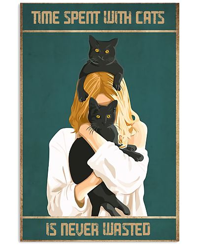Happy Girl And Cats Vertical Poster YNP7