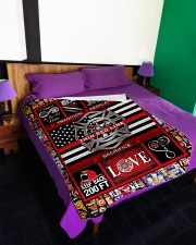"""Proud Thin Red Line V99H9 Large Fleece Blanket - 60"""" x 80"""" aos-coral-fleece-blanket-60x80-lifestyle-front-01"""