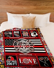 """Proud Thin Red Line V99H9 Large Fleece Blanket - 60"""" x 80"""" aos-coral-fleece-blanket-60x80-lifestyle-front-02"""