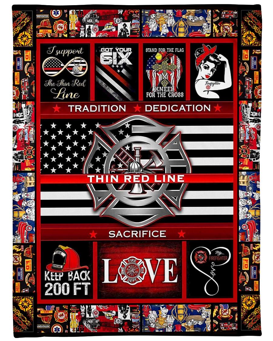 "Proud Thin Red Line V99H9 Large Fleece Blanket - 60"" x 80"""