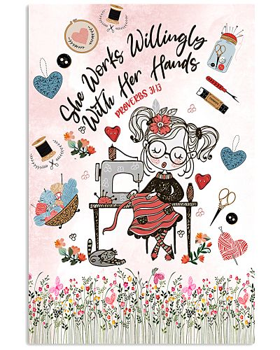 Sewing Works Willingly Vertical Poster YBE9