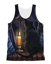 Cat In The Night Tank Top QE25 All-over Unisex Tank front