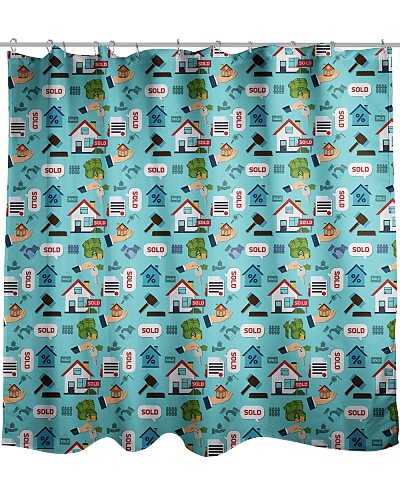 Real Estate Pattern Shower Curtain QE25