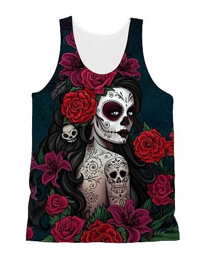Tattoo Girl n Roses Tank QE25