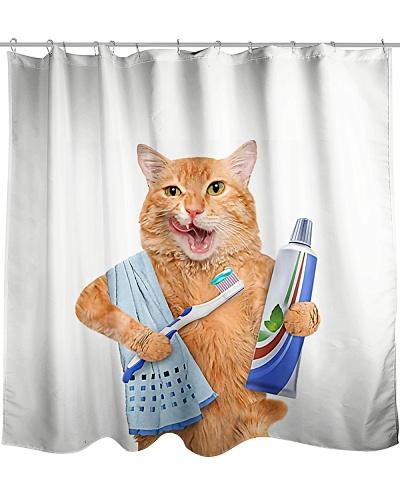 Cat Toothbrush Shower Curtain YHG6