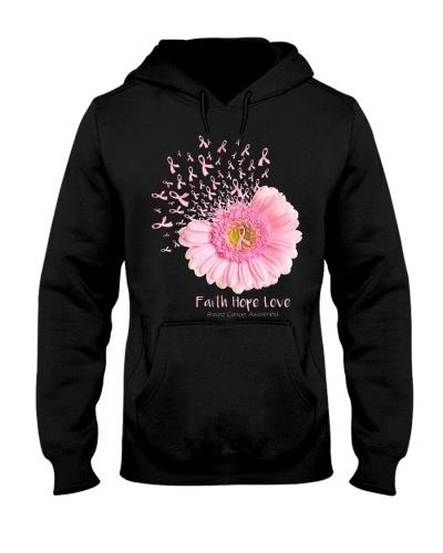 Faith Hope Love Breast Cancer Awareness Flower Pin