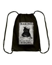 BAKING BECAUSE MURDER IS WRONG Drawstring Bag tile