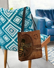 Bee Leather Pattern Print All-over Tote aos-all-over-tote-lifestyle-front-01