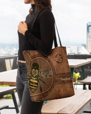 Bee Leather Pattern Print All-over Tote aos-all-over-tote-lifestyle-front-04