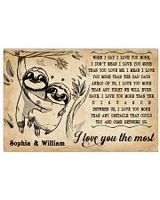 SLOTH - I LOVE YOU THE MOST - CUSTOM NAME 36x24 Poster front