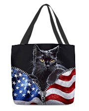 Cat Flag Leather Pattern Print All-over Tote back