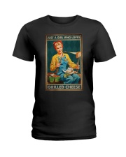 JUST A GIRL WHO LOVES GRILLED CHEEDE Ladies T-Shirt tile