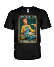 JUST A GIRL WHO LOVES GRILLED CHEEDE V-Neck T-Shirt tile
