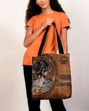 Hippie Girl Leather Pattern Print All-over Tote aos-all-over-tote-lifestyle-front-06