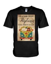IN THE DARK DESERT HIGHWAY V-Neck T-Shirt tile