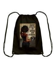 EASILY DISTRACTED BY MUSIC AND FITNESS Drawstring Bag tile