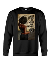 EASILY DISTRACTED BY MUSIC AND FITNESS Crewneck Sweatshirt tile