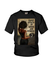 EASILY DISTRACTED BY MUSIC AND FITNESS Youth T-Shirt tile