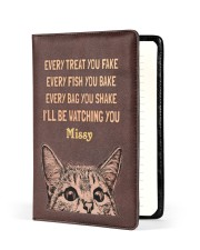 CAT - EVERY TREAT YOU FAKE - CUSTOM NAME Medium - Leather Notebook front